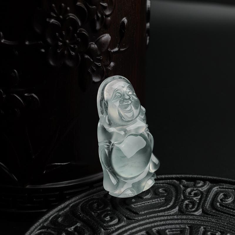 天然冰种飘花翡翠弥勒佛吊坠-红掌柜