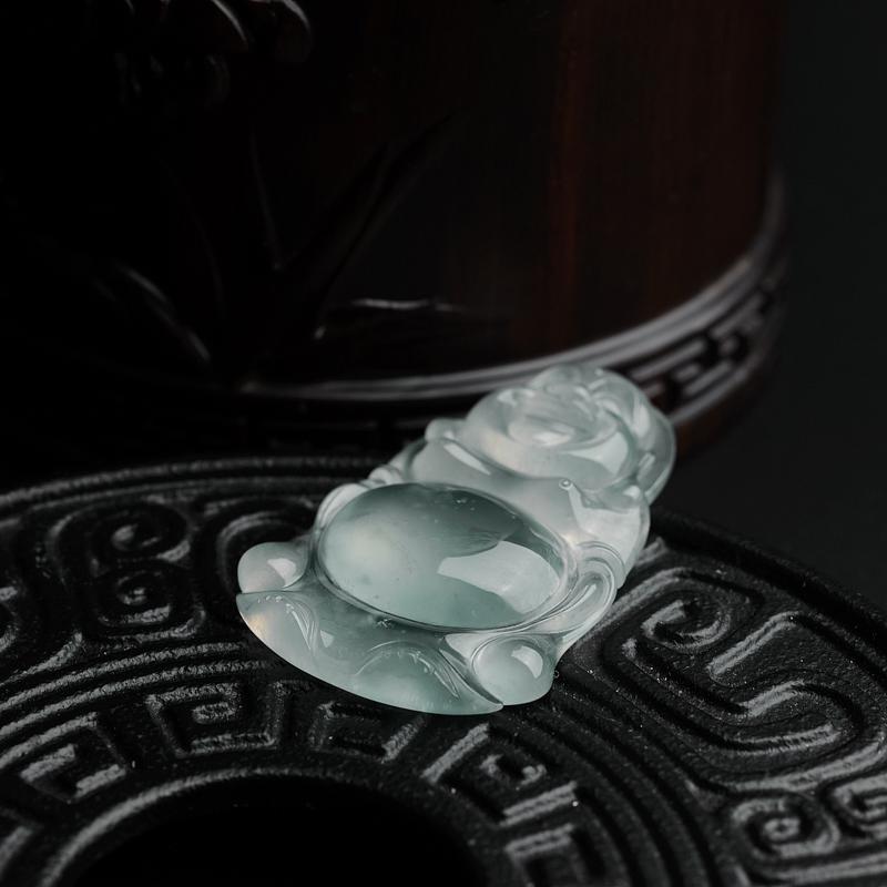 缅甸天然冰种飘花翡翠吊坠-红掌柜