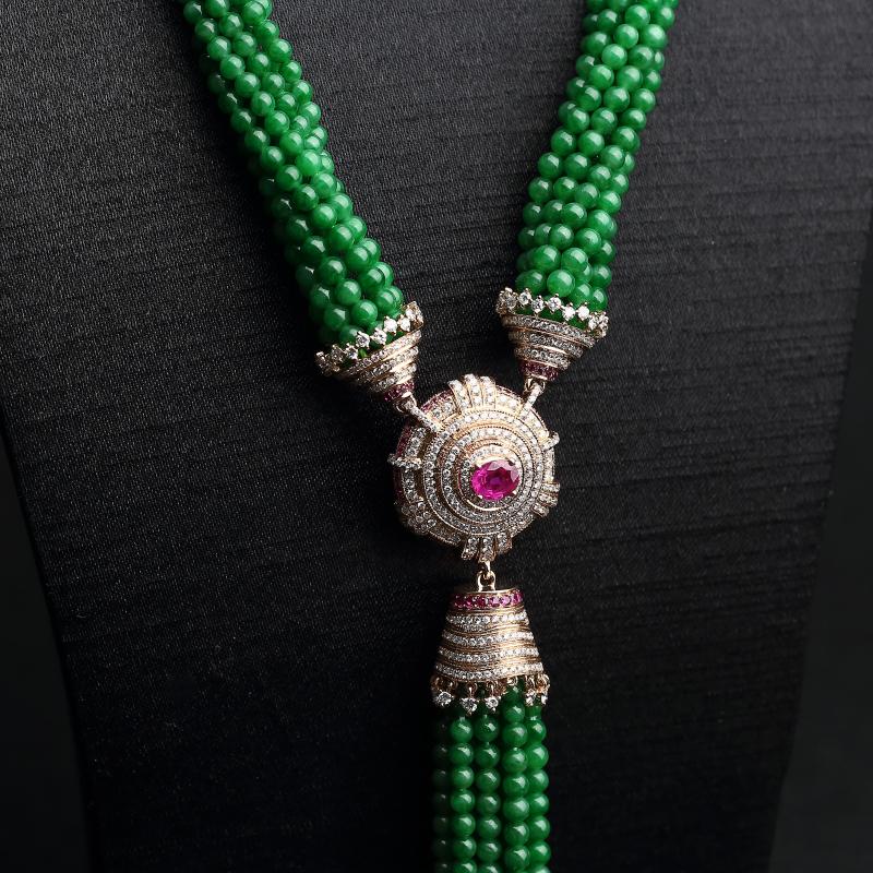 糯种满绿翡翠珠链-红掌柜