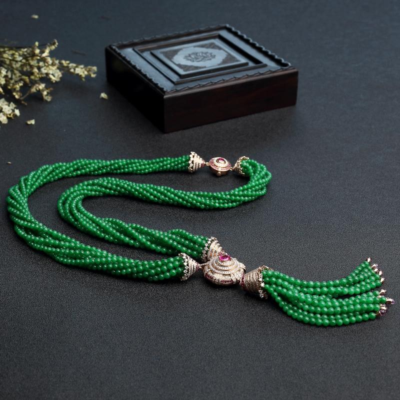 满绿翡翠珠链-红掌柜