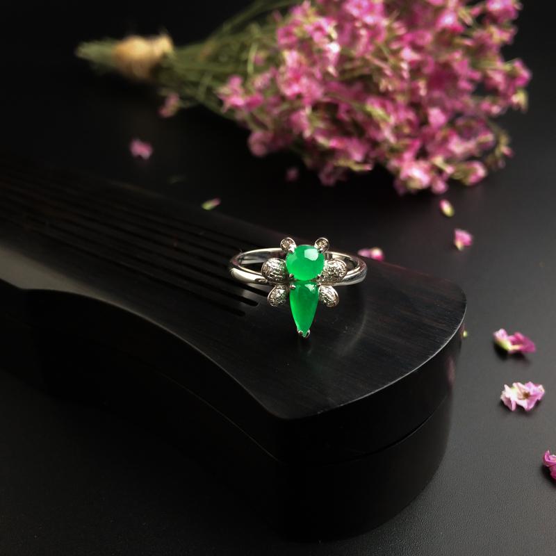 18K金鑲冰種陽綠翡翠戒指 - 紅掌柜