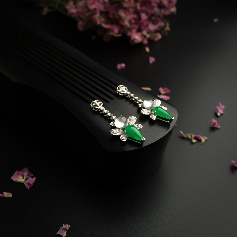 18K金鑲冰種陽綠翡翠耳環 - 紅掌柜