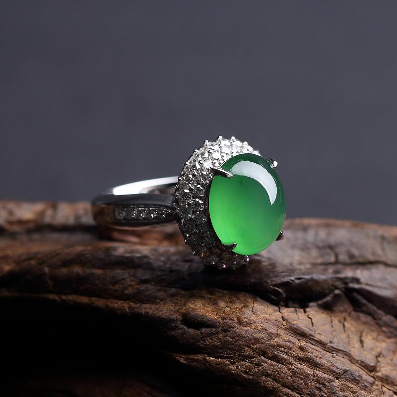 冰种阳绿翡翠戒指-红掌柜