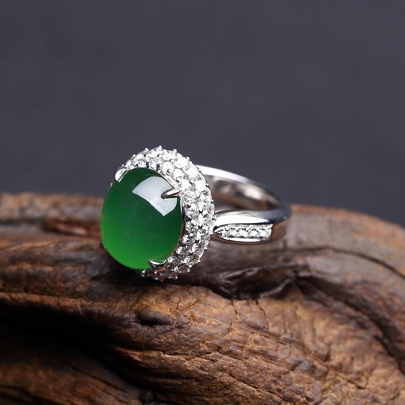 阳绿翡翠戒指-红掌柜