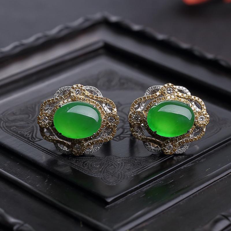 18K镶钻缅甸天然冰种阳绿翡翠耳环-红掌柜