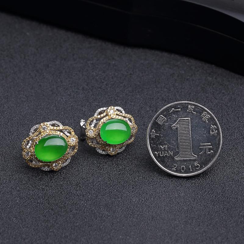 冰种阳绿翡翠耳环-红掌柜