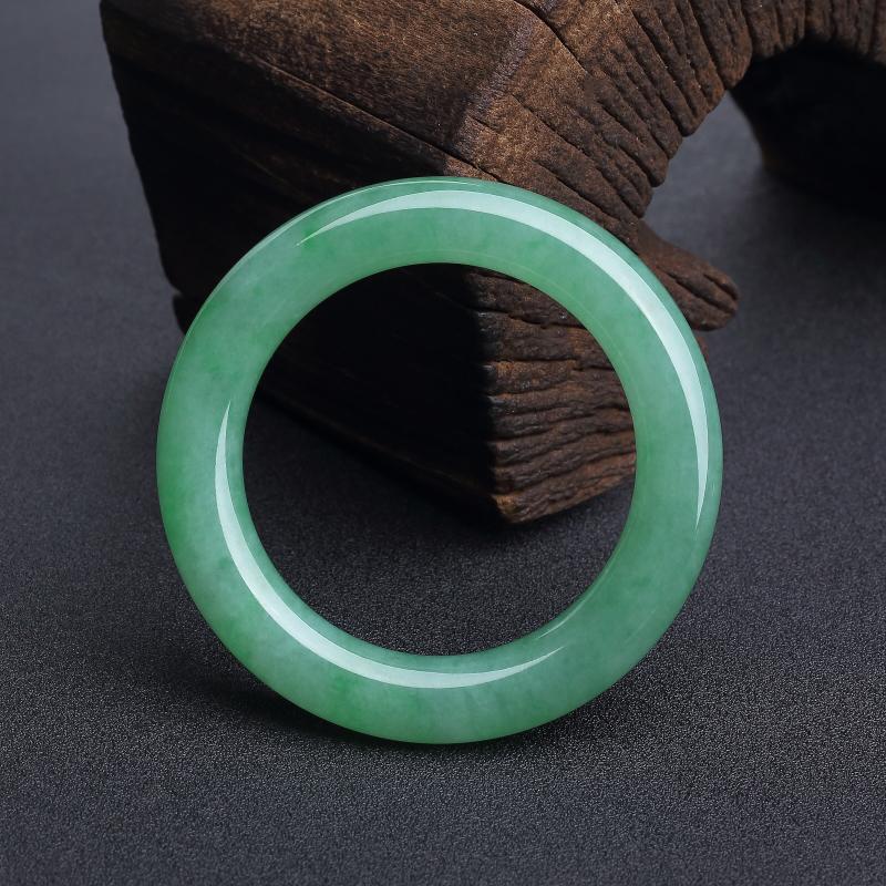 缅甸天然糯种阳绿翡翠对镯-红掌柜