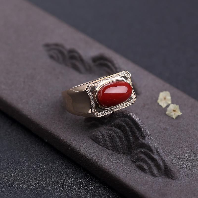 金镶钻阿卡深红珊瑚戒指-红掌柜