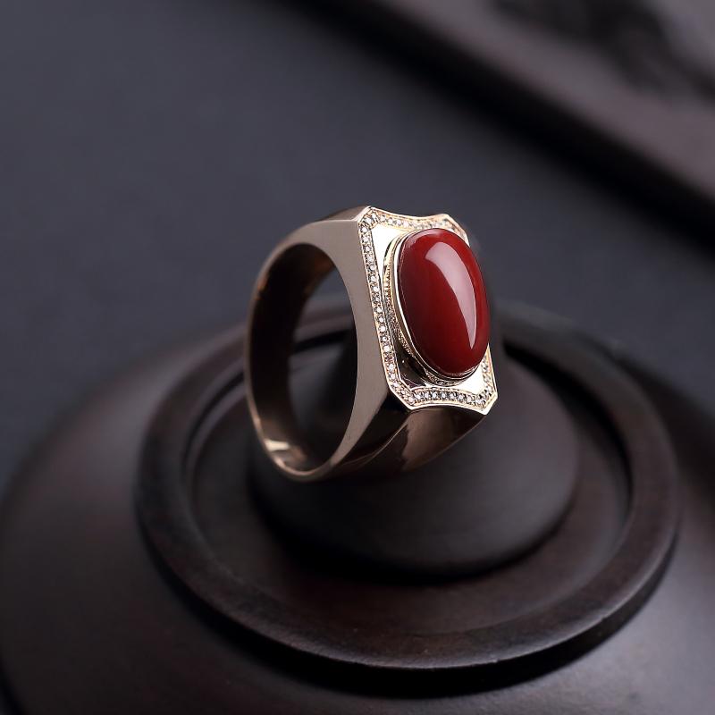 18K金镶钻珊瑚戒指-红掌柜