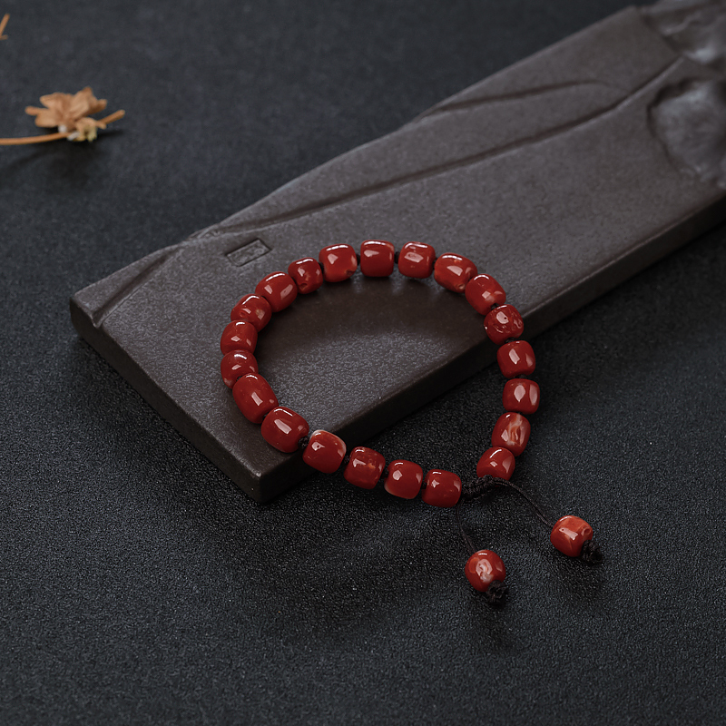 阿卡珊瑚桶珠手串-红掌柜