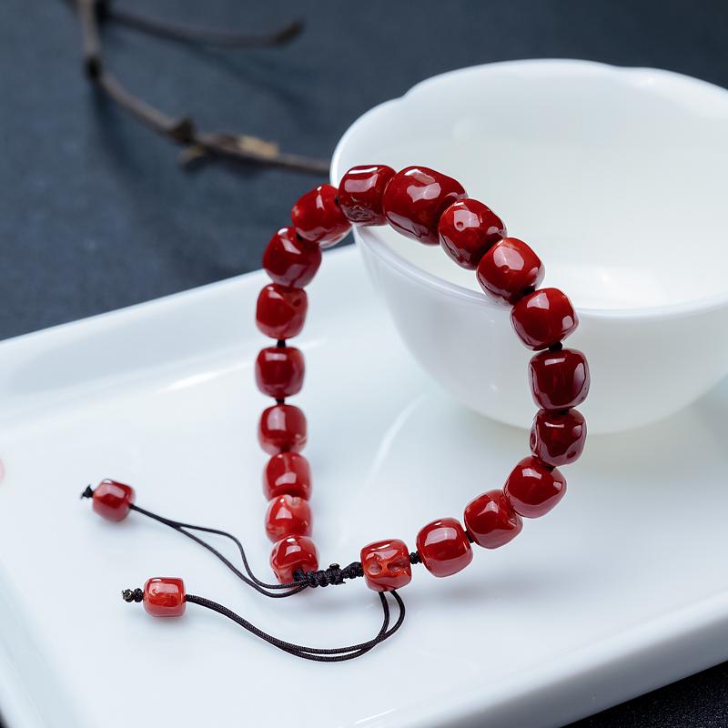 阿卡珊瑚桶珠单圈手串-红掌柜