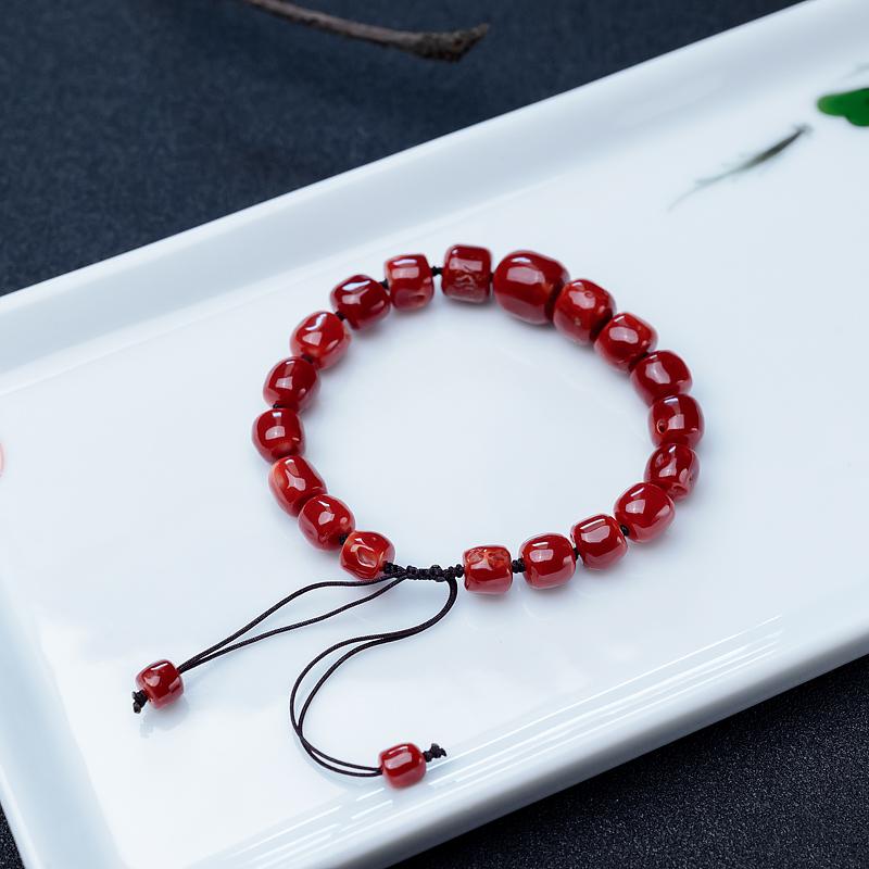 阿卡深红珊瑚桶珠单圈手串-红掌柜
