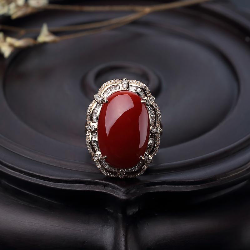 18K金镶钻日本天然阿卡深红珊瑚两用款-红掌柜