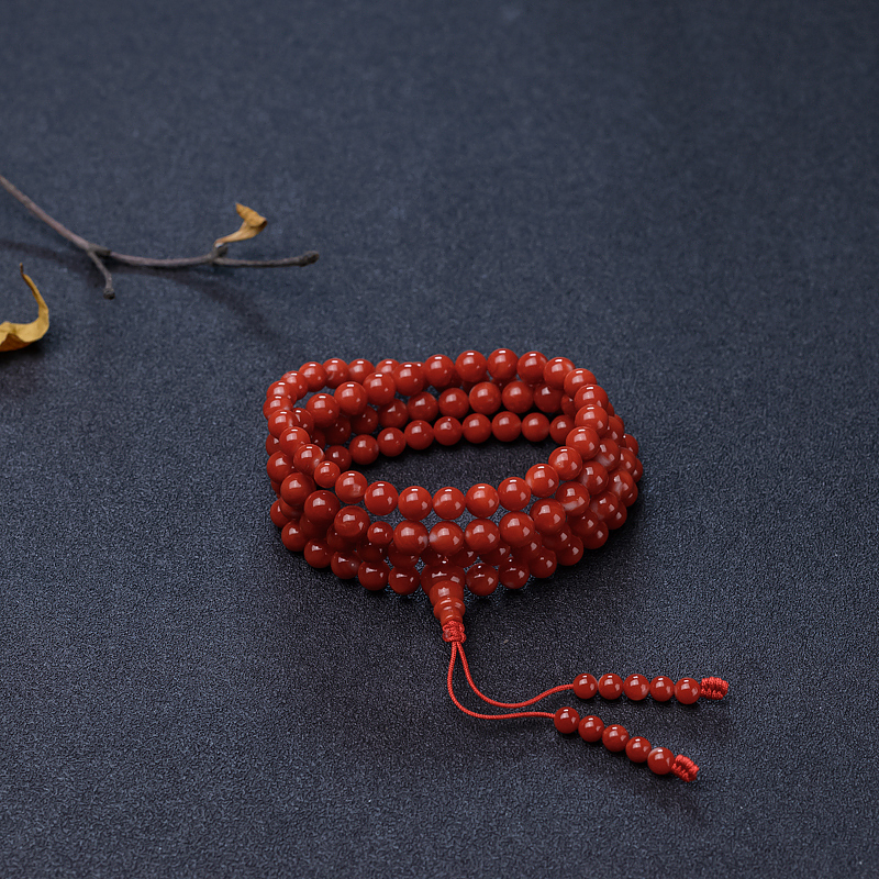 日本天然正红珊瑚108佛珠-红掌柜