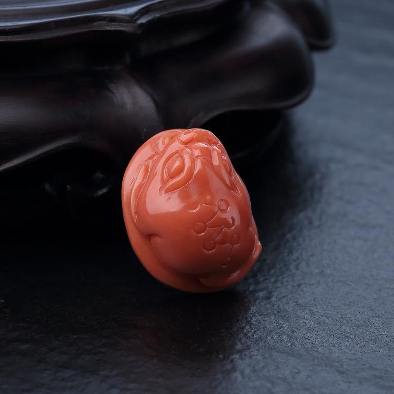 台湾MOMO橘色珊瑚三足金蟾吊坠-红掌柜