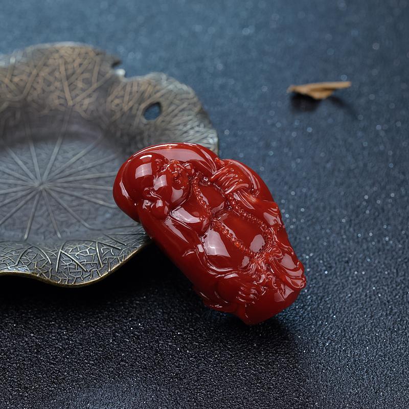 日本阿卡牛血红珊瑚佛吊坠-红掌柜