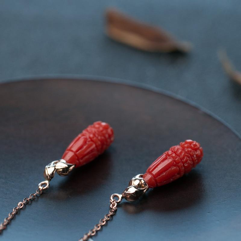 天然珊瑚耳坠-红掌柜
