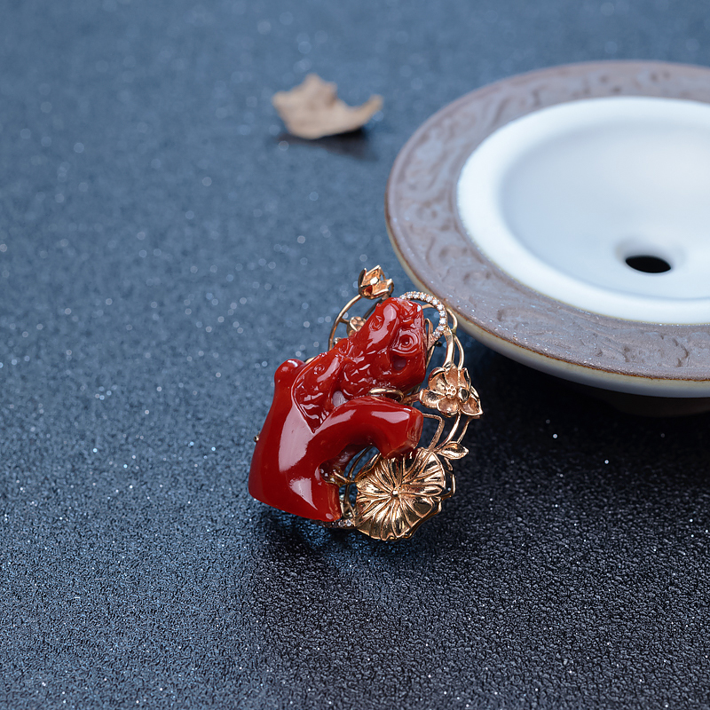 阿卡牛血红珊瑚年年有余两用款-红掌柜