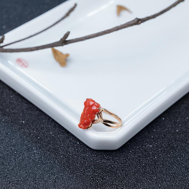 金鑲鉆阿卡朱紅珊瑚貔貅戒指-紅掌柜