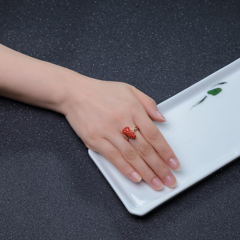 紅珊瑚貔貅戒指-紅掌柜