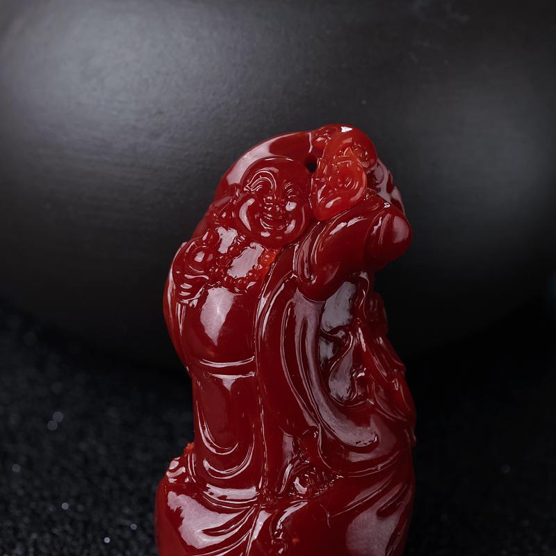 阿卡牛血红珊瑚弥勒佛-红掌柜