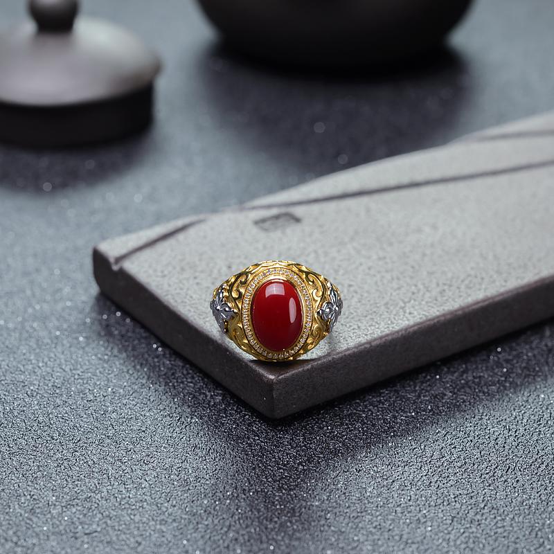 18K阿卡牛血红珊瑚戒指-红掌柜