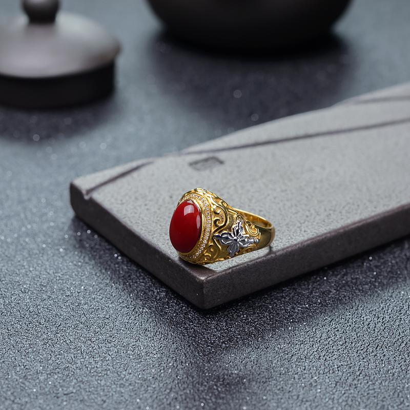 阿卡牛血红珊瑚戒指-红掌柜