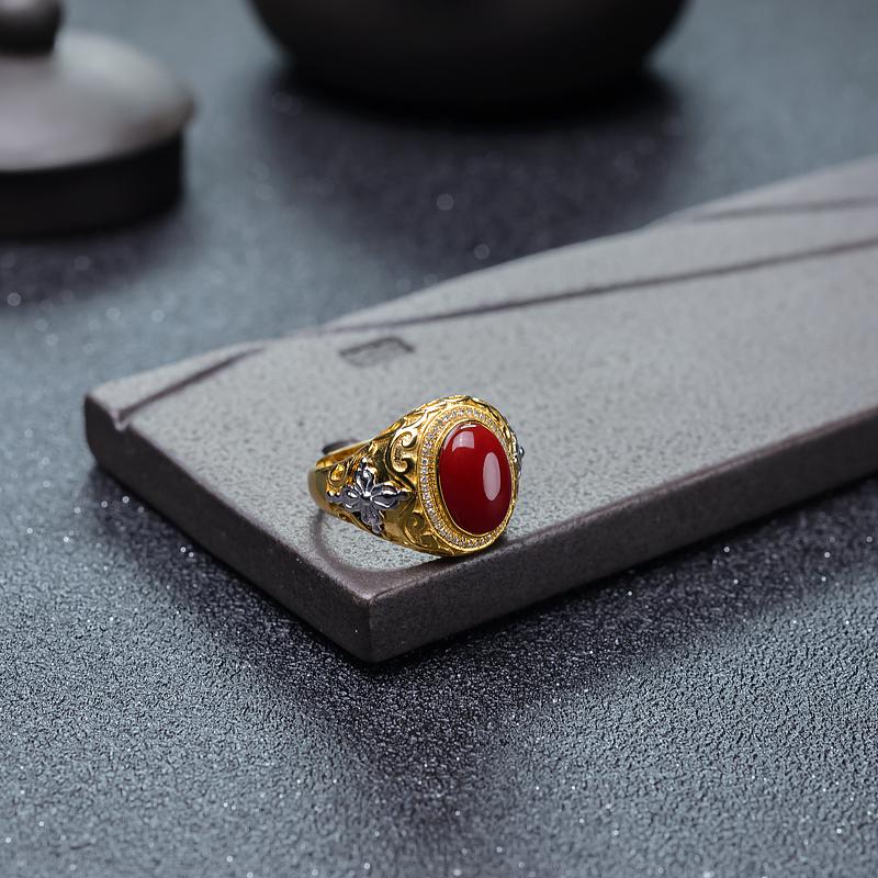 18K牛血红珊瑚戒指-红掌柜