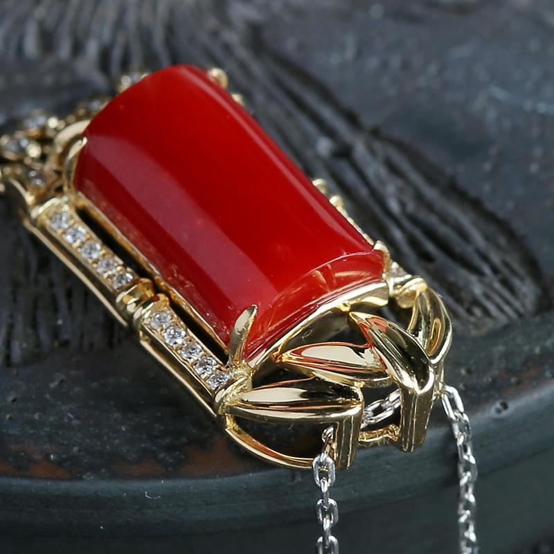 日本阿卡红珊瑚吊坠-红掌柜