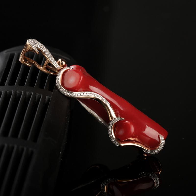 18K镶钻阿卡正红珊瑚原枝吊坠-红掌柜