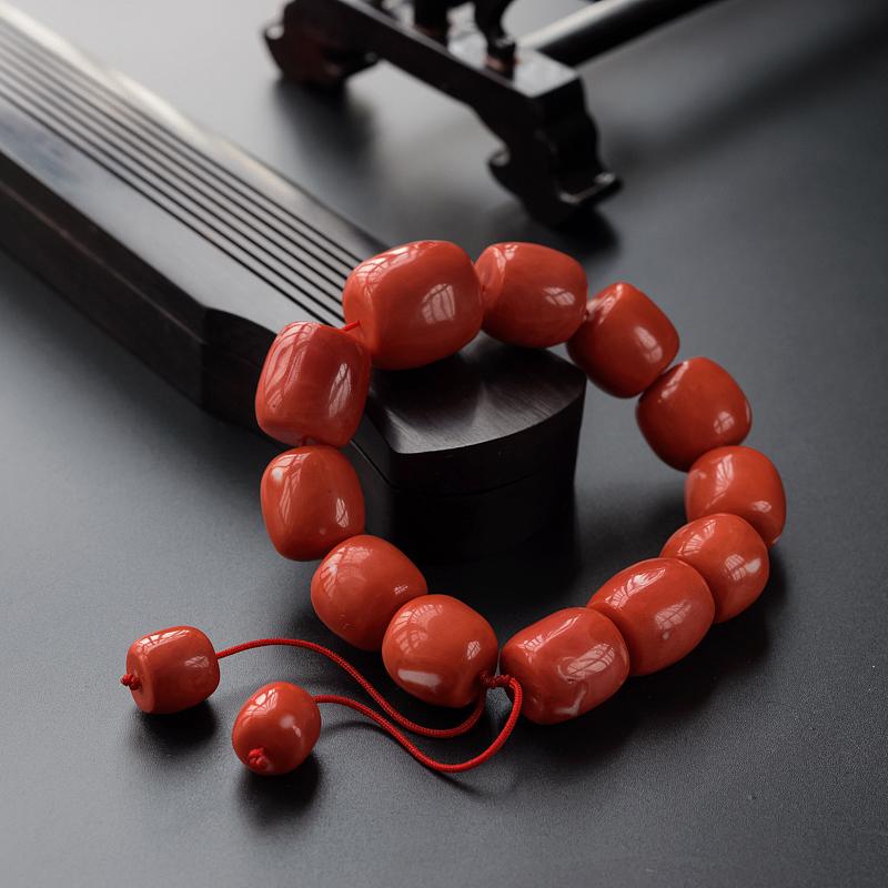 台湾momo珊瑚桶珠手串-红掌柜