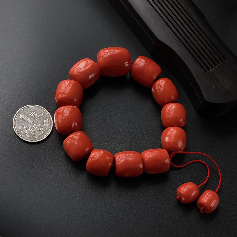 台湾珊瑚桶珠手串-红掌柜