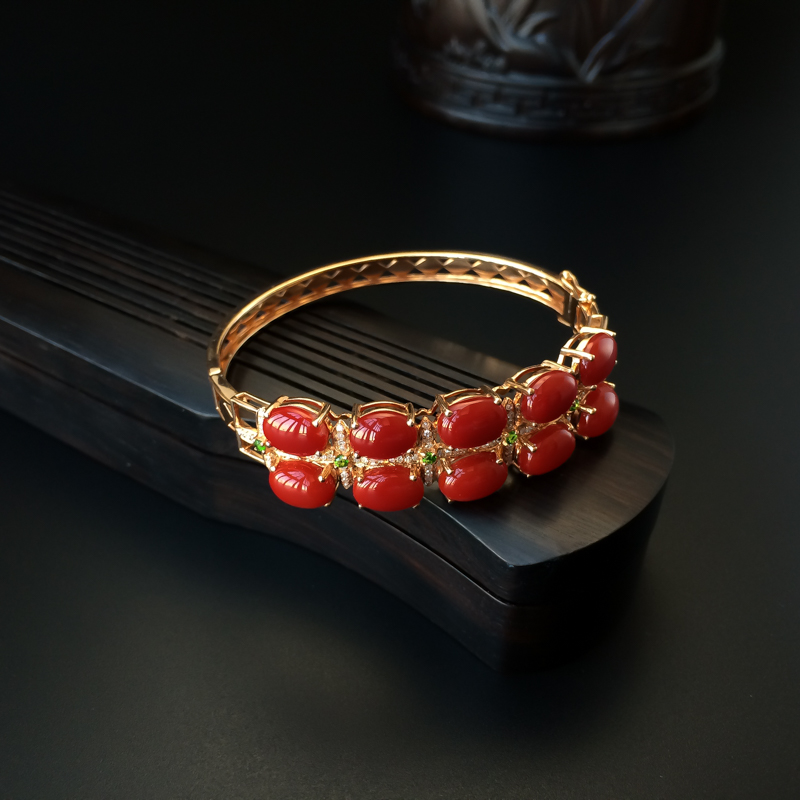 天然18K金镶钻阿卡牛血红珊瑚手镯 - 红掌柜