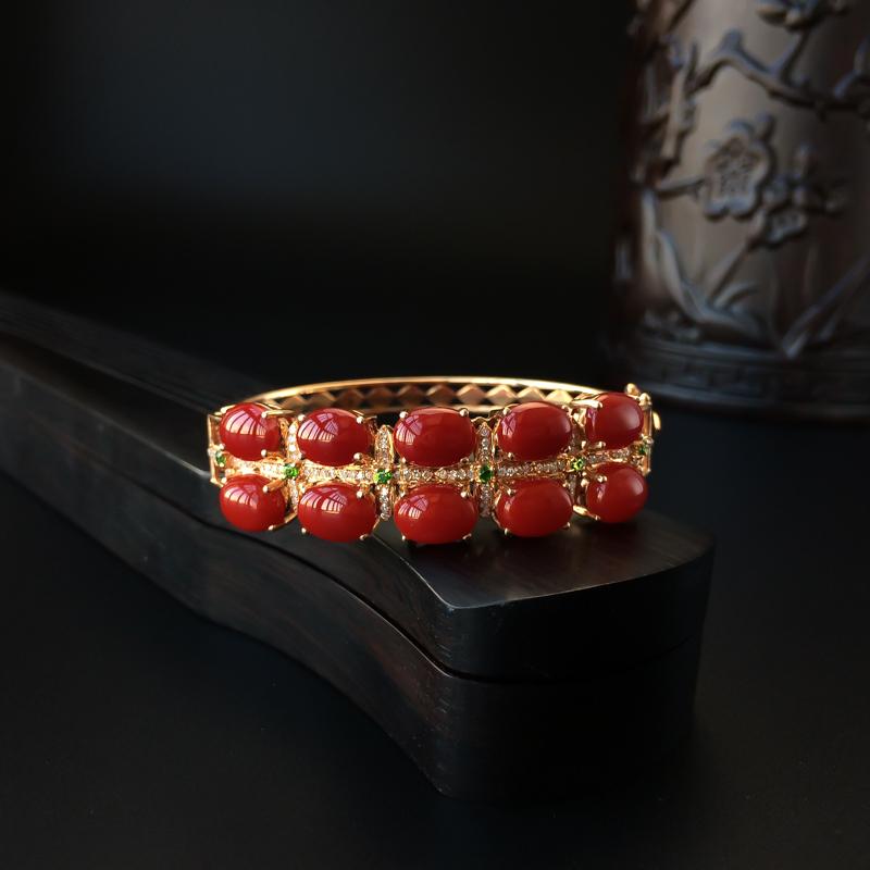 日本天然18K金鑲鉆阿卡牛血紅珊瑚手鐲 - 紅掌柜