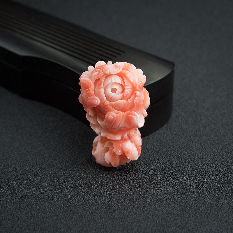 MISU粉红珊瑚花开富贵吊坠-红掌柜