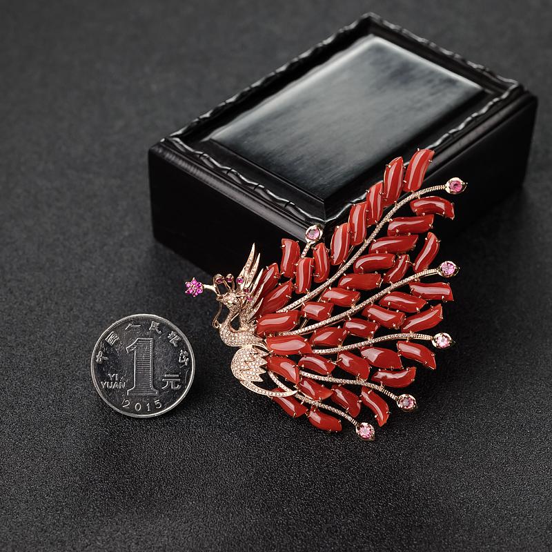 阿卡朱红珊瑚胸针-红掌柜