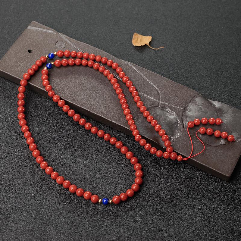 意大利天然沙丁朱红珊瑚108佛珠-红掌柜