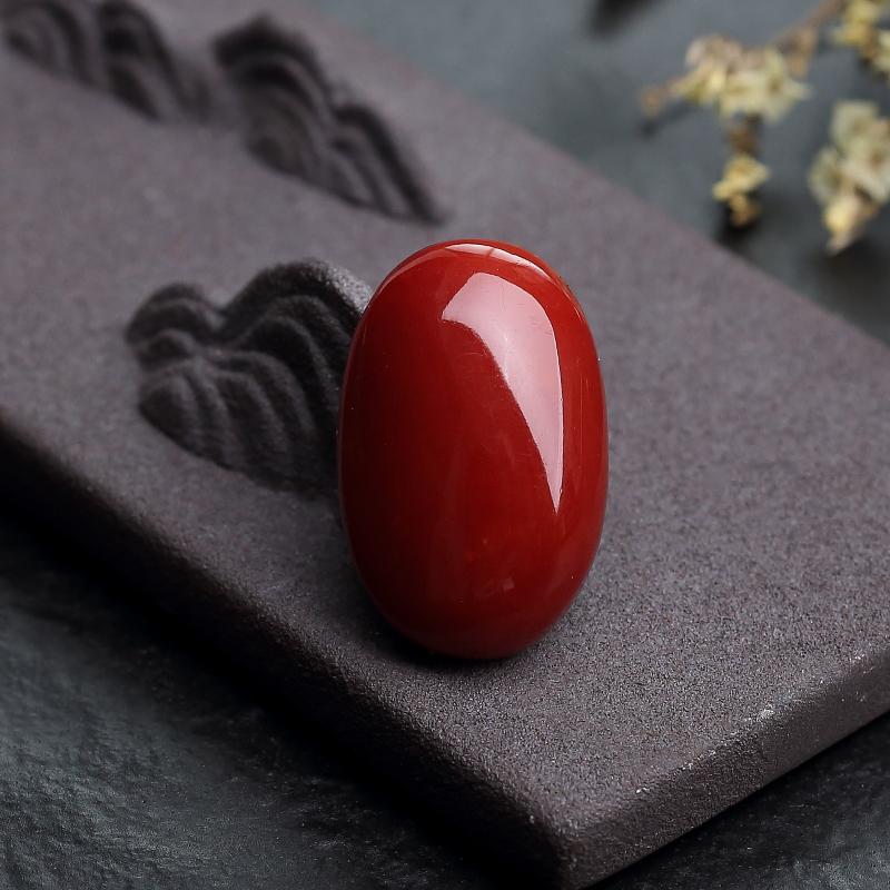 日本天然阿卡正红珊瑚蛋面形戒面-红掌柜