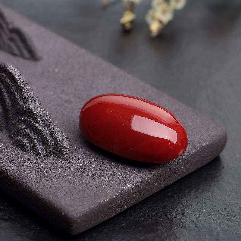 日本天然阿卡正红珊瑚戒面-红掌柜
