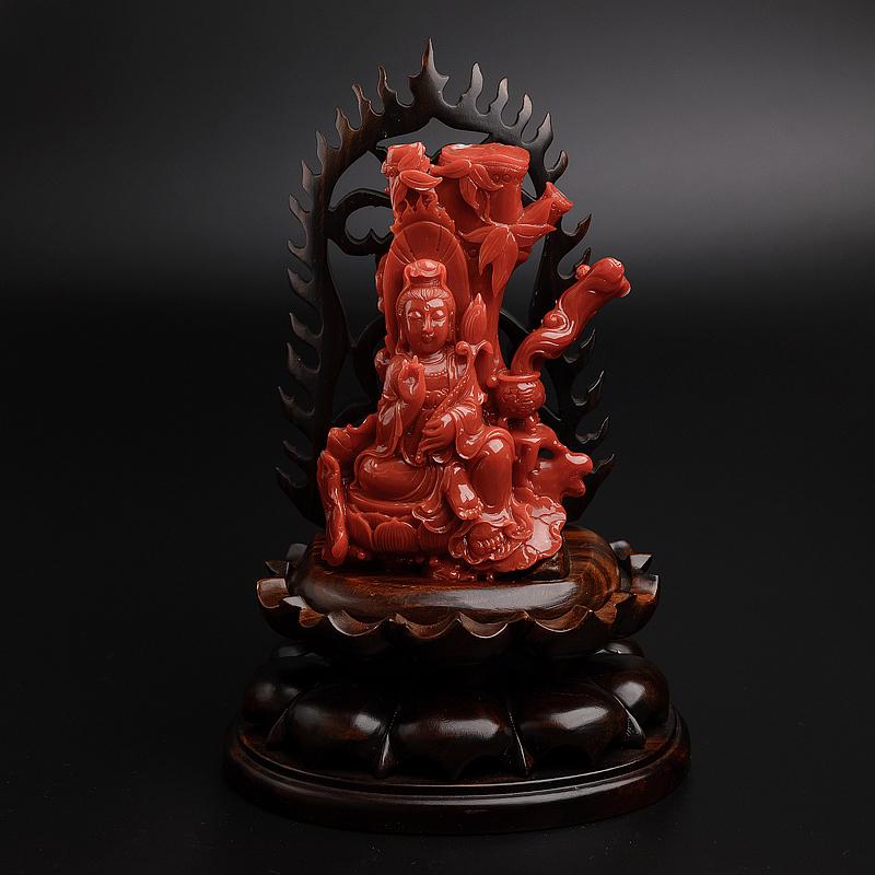 日本天然阿卡正红珊瑚观音摆件 - 红掌柜