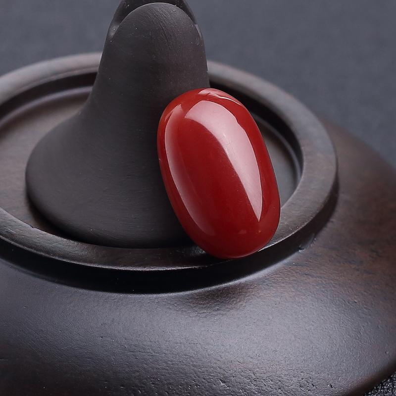 天然阿卡正紅珊瑚戒面-紅掌柜