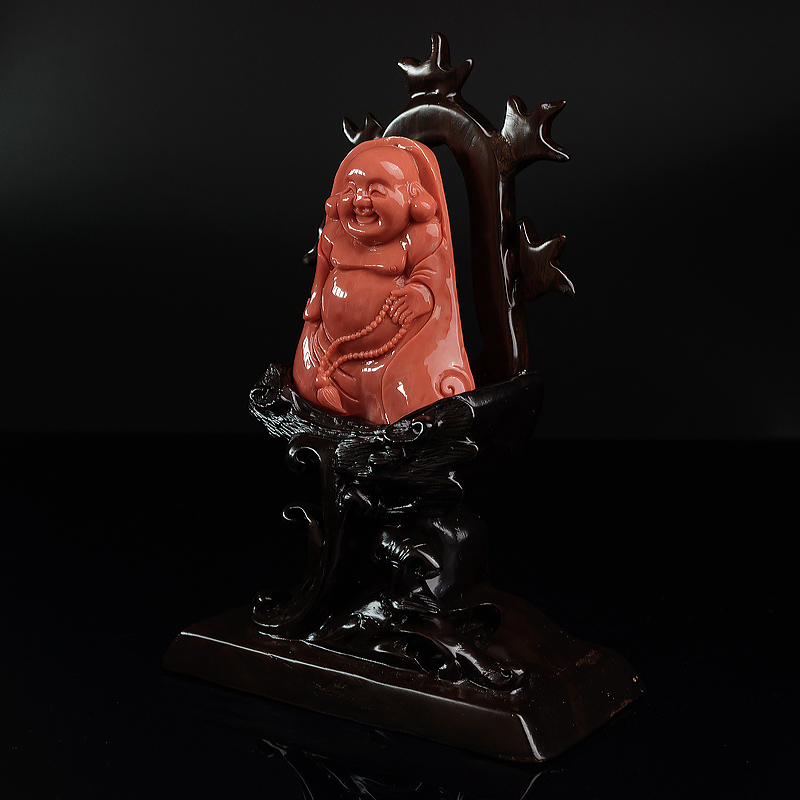 MOMO珊瑚弥勒佛吊坠-红掌柜