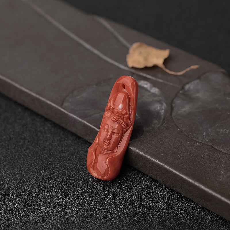 橘红珊瑚观音吊坠-红掌柜
