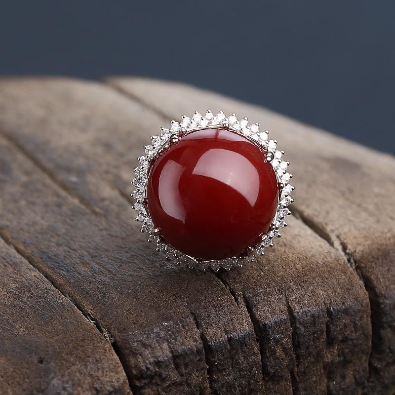 18K金镶钻日本天然阿卡黑红珊瑚戒指-红掌柜