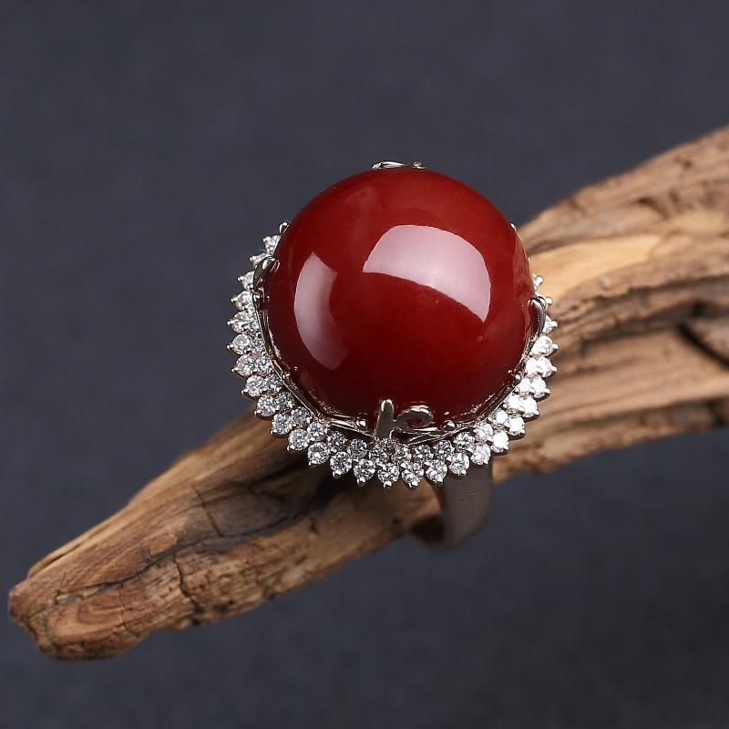 18K金镶钻日本天然黑红珊瑚戒指-红掌柜