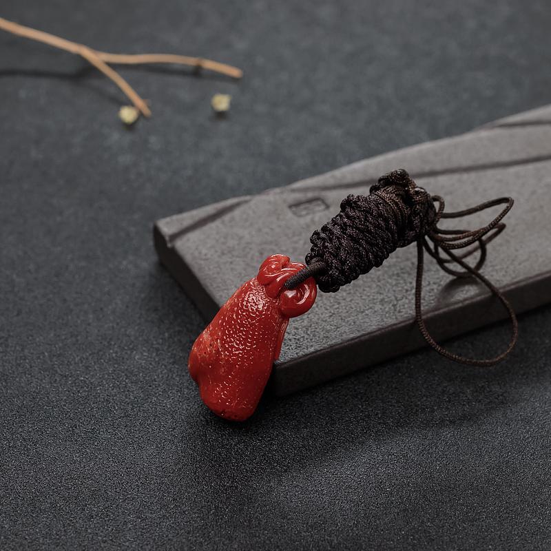 天然阿卡正红珊瑚如意吊坠-红掌柜
