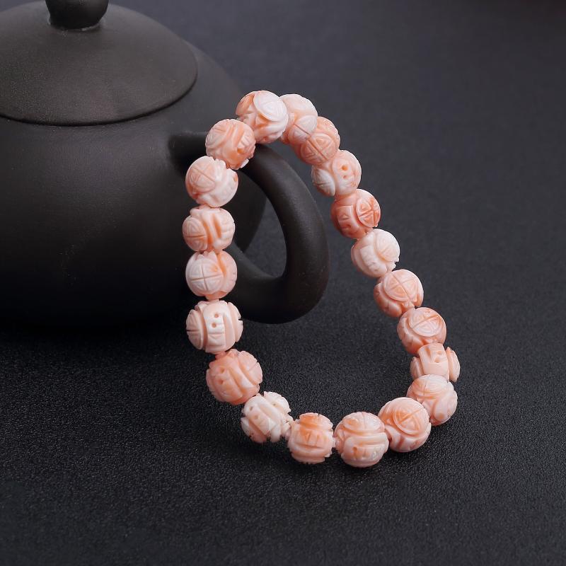 天然深水粉色珊瑚龙珠单圈手串-红掌柜