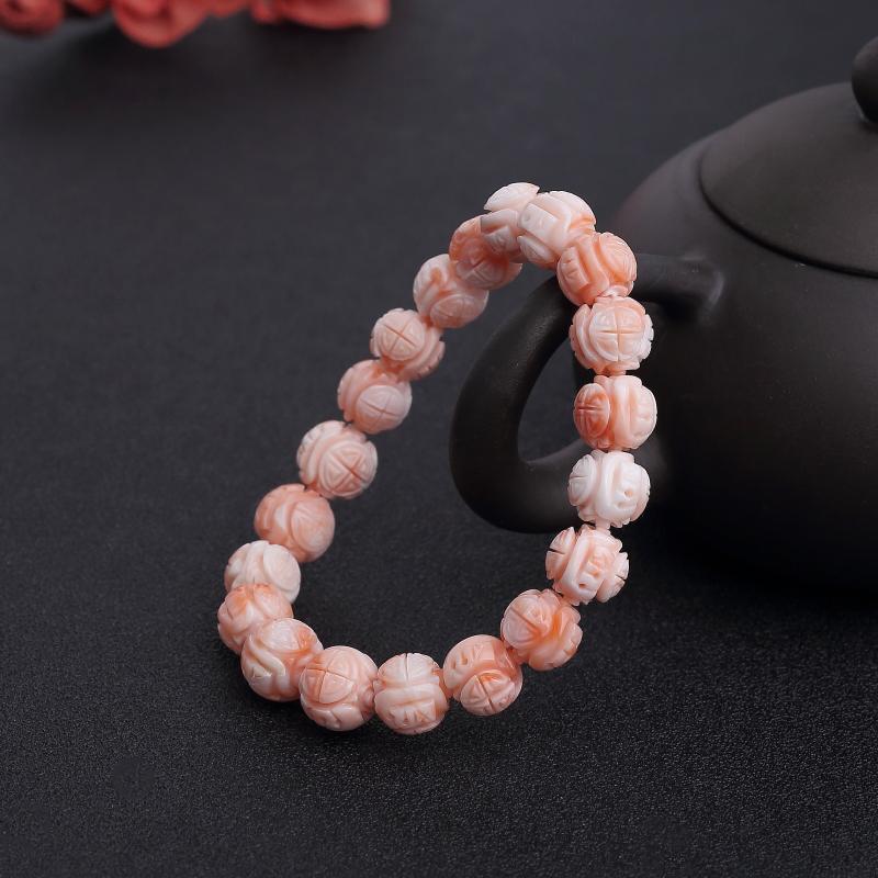 台湾深水粉色珊瑚龙珠单圈手串-红掌柜