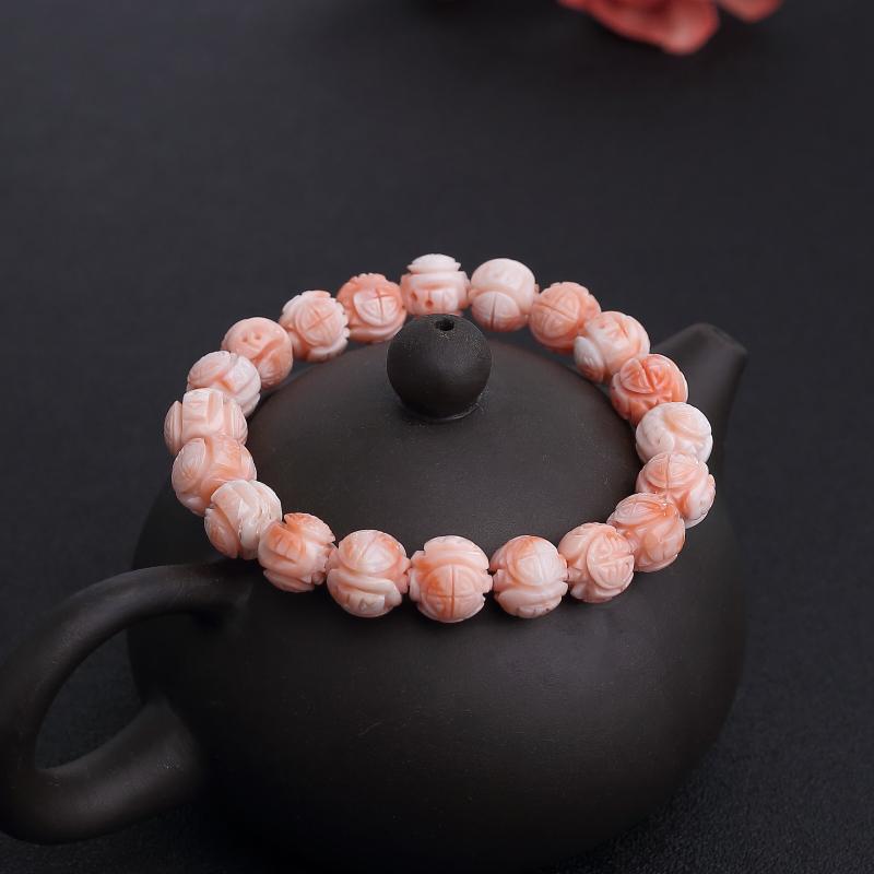 台湾天然粉色珊瑚龙珠单圈手串-红掌柜
