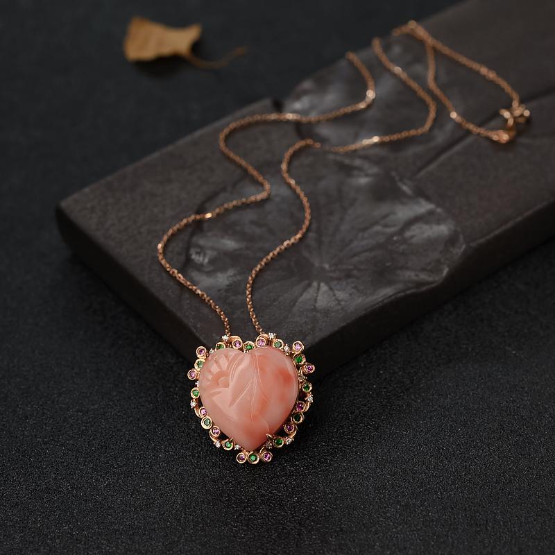 18K金镶钻深水粉色珊瑚心形项链-红掌柜
